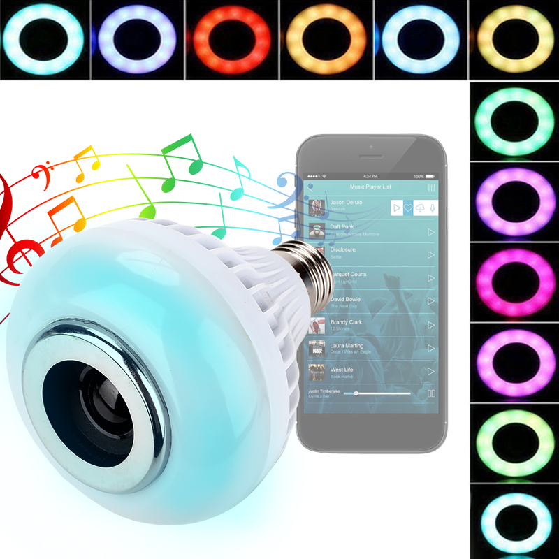 Bluetooth 4.0 LED Music Bulb APP Control Audio Bar Gift Loudspeaker E27 Wireless Colorful RGB 12W Speaker KTV Lamp Smart Light