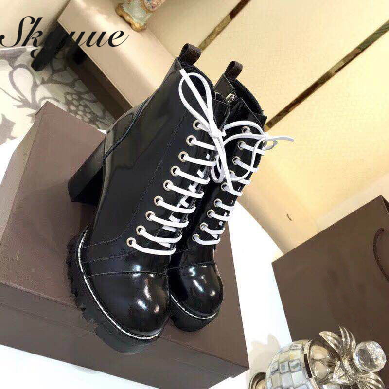SKYYUE New Genuine Leather Round Toe Lace Up Women Motorcycle Boots Zip Side Chunky Heel Women Ankle Boots Shoes Women women irresistible suede color patchwork ankle boots round toe chunky heels classic side zip short boots new arrival this year