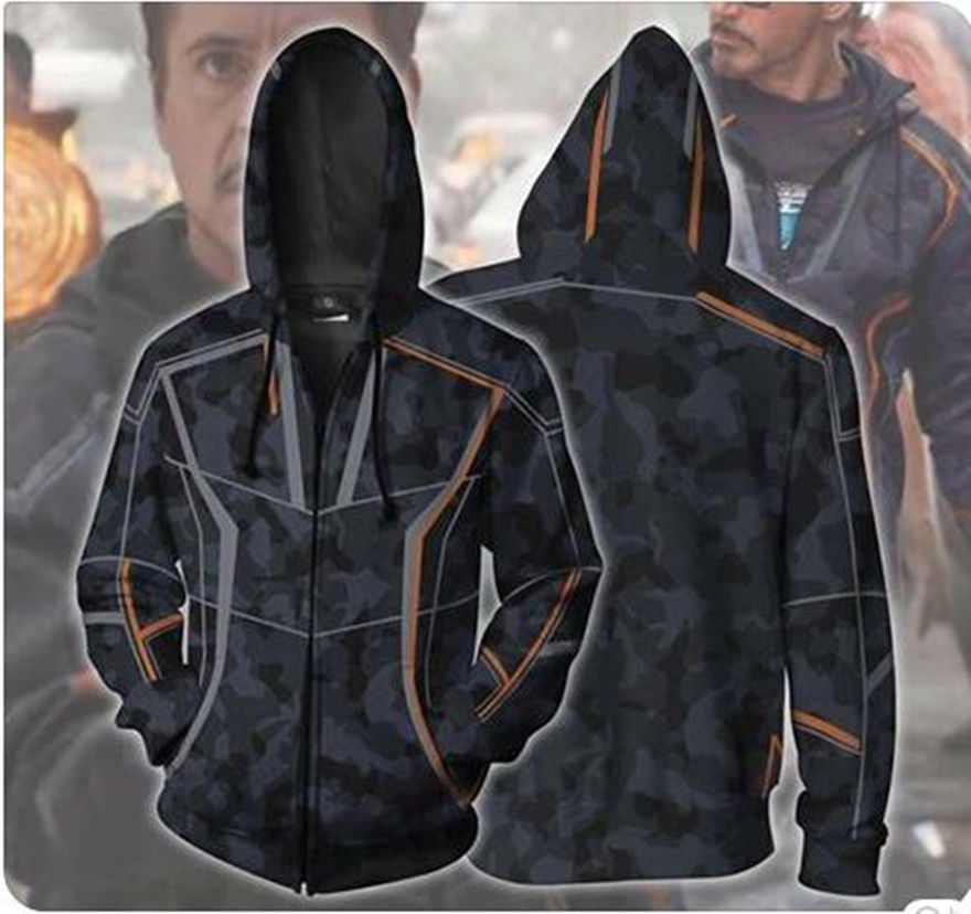 Iron Man Toni Hoodie Infinity War Coat Zipper Sweater Cosplay Costume 3D Print