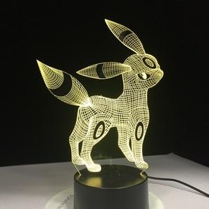 Image 4 - Umbreon Pokemon Go 3D Acrylic Đèn Ngủ USB Ngủ 3AA Pin 7 Màu Thay Đổi Đèn Bàn Trang Trí Phòng Ngủ Trẻ Em quà Tặng Sinh Nhật