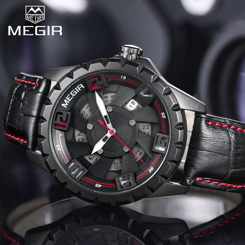 2017 Megir New Watches Men Luxury Brand Fashion Casual Military Sports Watches 3ATM Waterproof Analog Quartz Leather Watch Top 2014 new arrival fashion men sports dual movement analog watches military quartz luxury fashion brand led watch 30m waterproofed oversize wristwatch red