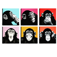 6PCS monkey Chimpanzee Wall painting print on canvas for home decoration paints on wall pictures pop art for living room