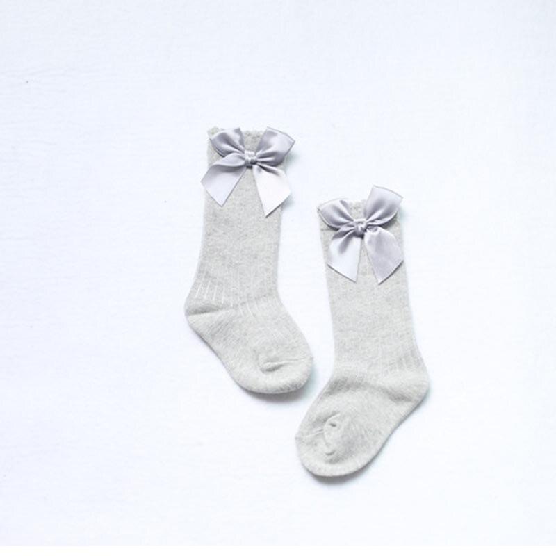 Girl Cute Baby Kids Children Long Booties Vertical Striped Socks Knee High With Bows Princess Socks S01