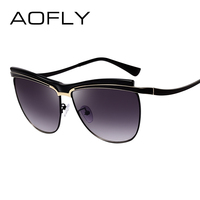 AOFLY Sunglasses Female Cat Eye Sunglasses Women Half Frame Glasses Unique Style Women Brand Design UV400