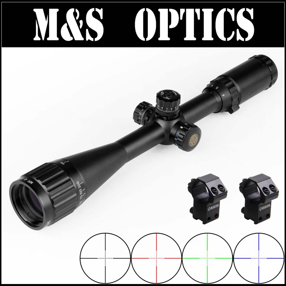 Marcool 4-16X40 AOIRGB Red Green Blue Illuminated Reticle Tactical Night Vision Hunting Scope For Rifle With Riflescopes Mounts marcool evv 6 24x50 sfirgl first focus plane tactical rifle scope