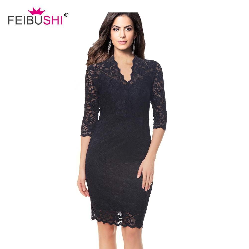 935ab692d1 FEIBUSHI Robe Femme Embroidery Vintage Lace Dress Women 3/4 Sleeve Casual  Evening Party Lace