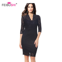 FEIBUSHI Robe Femme Embroidery Vintage Lace Dress Women 3 4 Sleeve Casual Evening Party Lace Dress