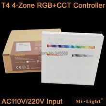 Mi.Light T4 4-Zone RGB+CCT Smart Touch Panel Remote Controller AC110V or AC22V Input Wall Mount 2.4G Wireless as FUT092