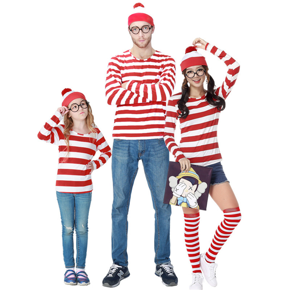 Cosplay Parent-Child Cartoon Where is Wally Waldo Costume Red Stripe Shirt /Hat /Glasses/Sock striped Christmas pajamas costume