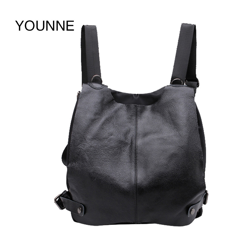 YOUNNE Genuine Leather Classic Women Backbag Solid Black Cow Leather Hasp Street Girl like Bag 247 classic leather