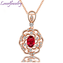 Elegant Red Ruby Stone Drop Pendant Necklace 14K Rose Gold Natural Diamond Women Jewelry Wholesale For