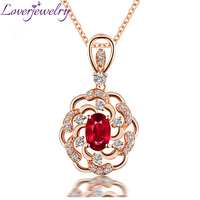 Elegant Red Ruby Pendant Necklace 14K Rose Gold Natural Diamond Party Jewelry Wholesale for Girl