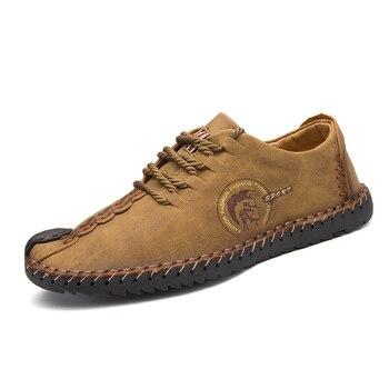 VANCAT 2018 New Comfortable Big size 38-46 Casual Shoes Loafers Men Shoes Quality Split Leather Shoes Men Flats Moccasins Shoes