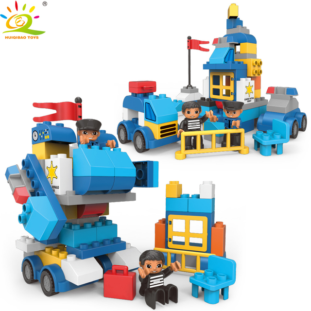 HUIQIBAO 66pcs DIY Big Police Station Transform Robot Building Blocks Duploed City policeman Bricks Toys For Children gift