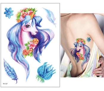 New Cartoon Blue Unicorn Fairy Tales Temporary Tattoo For Children Kids Waterproof Flash Tattoo Sticker Girl Baby Body Art Horse 3