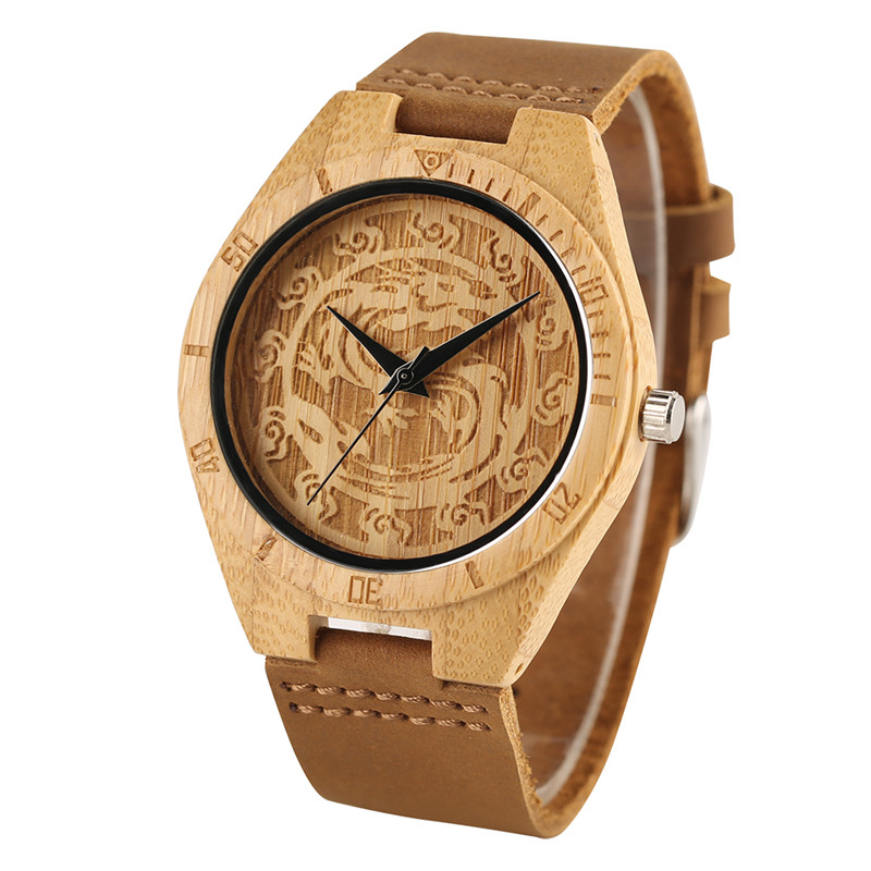 Creative Chinese Dragon Shape Carving Women Men Quartz Wrist Watch Bamboo Genuine Leather Band Strap Modern Sport Gift