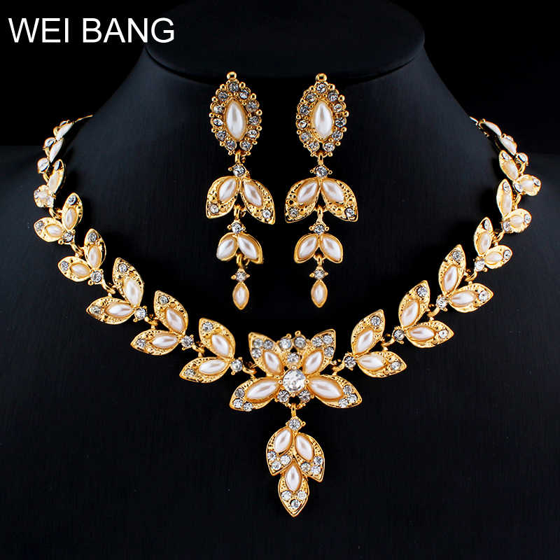 weibang Dubai women imitation pearl jewelry set leaf necklace earrings gift sets of clothing accessories dropshipping