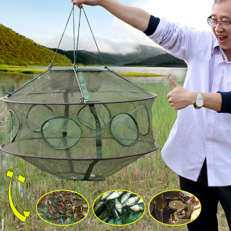 Hot sale portable 6 holes fishing cages collapsible for Fishing net for sale