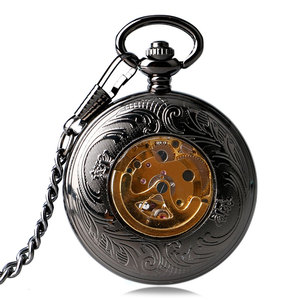 Image 5 - Luxury Mechanical Pocket Watch Mens Carving Transparent Glass Cover Winding Fashion Automatic Steampunk Exquisite Fob Watch Gift
