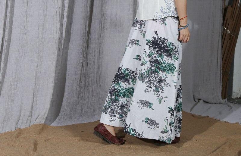Green Falda Imprimir red Algodón Verano Bolsillos Tobillo Largo Plisada Lino Rojo Preppy Verde Joven Lindo Mujeres De Floral Floral Longitud Hermoso Faldas qwFWBznH
