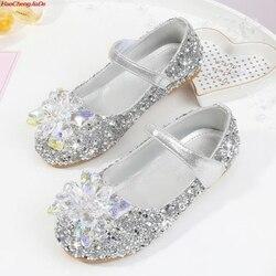 Дети haochengjiade кожаная обувь для девочек платья принцессы для девочек с Демисезонный Эльза обувь Chaussure Enfants сандалии вечерние обувь Anna