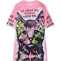 Mulheres t-shirt 2016 verão new casual estilo cat carta impressão gatinho senhoras mulher solta camiseta de manga curta tee top Camiseta rosa