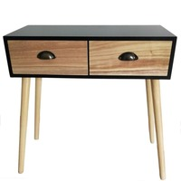 Console Table 2 Drawers Storage Hall Hallway Furniture Retro with Solid Wood Table Legs