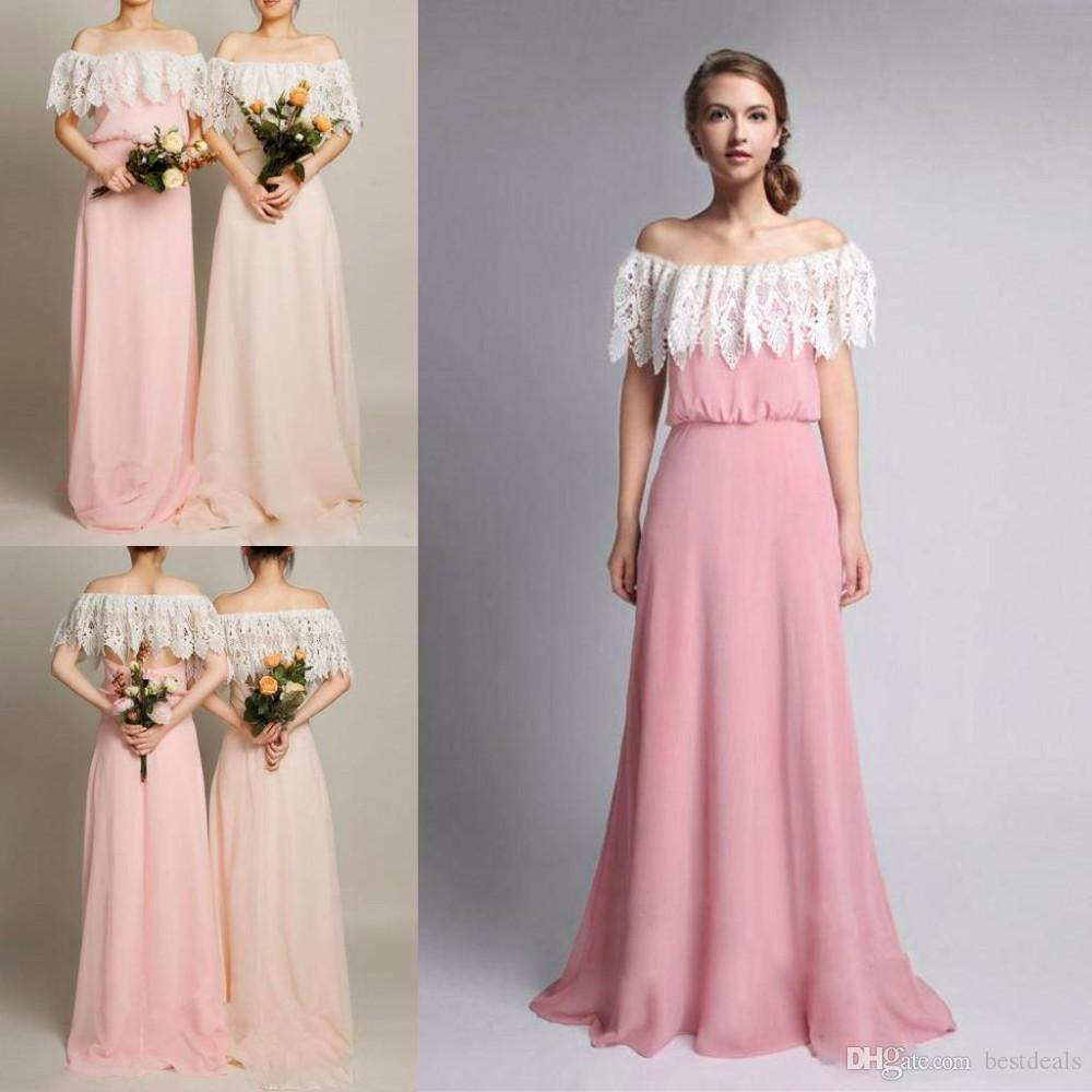 Online get cheap vintage ruffle bridesmaid dress aliexpress 2017 new summer bohemian bridesmaid dresses vintage off shoulder lace chiffon long beach wedding guest dress ombrellifo Choice Image