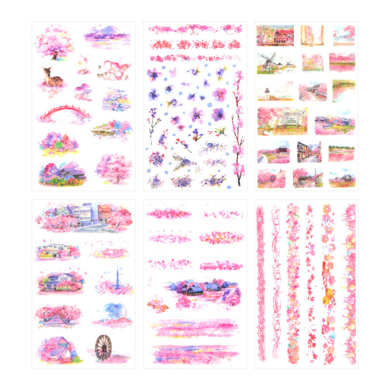 6PCS New Romantic Sakura Children Stationery For DIY Albums Scrapbooking Diary Decoration Cartoon Depicting Stickers
