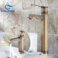 Modern Antique Brass Bathroom Faucet Wood Style Basin Vanity Sink Mixer Tap NEW