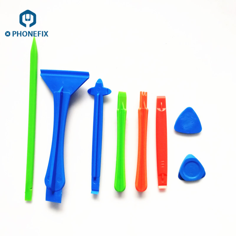 PHONEFIX 8 In 1 Plastic DIY Phone Pry Opening Tool Set Spudger Crowbar Triangle Pry Picks Phone Screen Disassembly Tool Kit