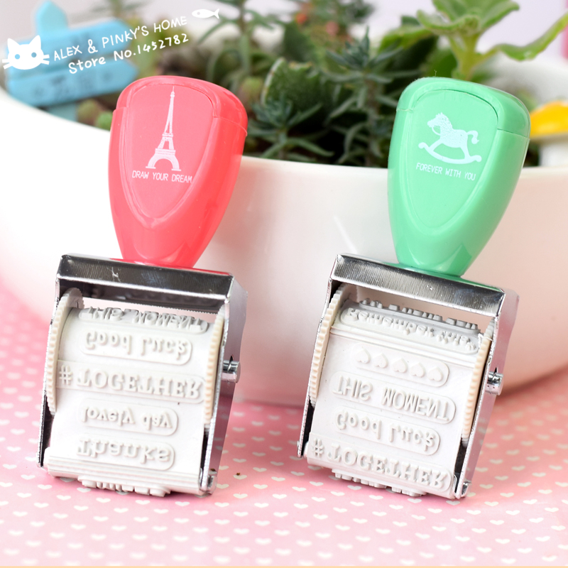 DIY Cute Kawai Rubber Roller Stamp  Thanks Good Luck Smiles Words Stamps for Kids Gifts Scrapbooking Ink Pad Stamp