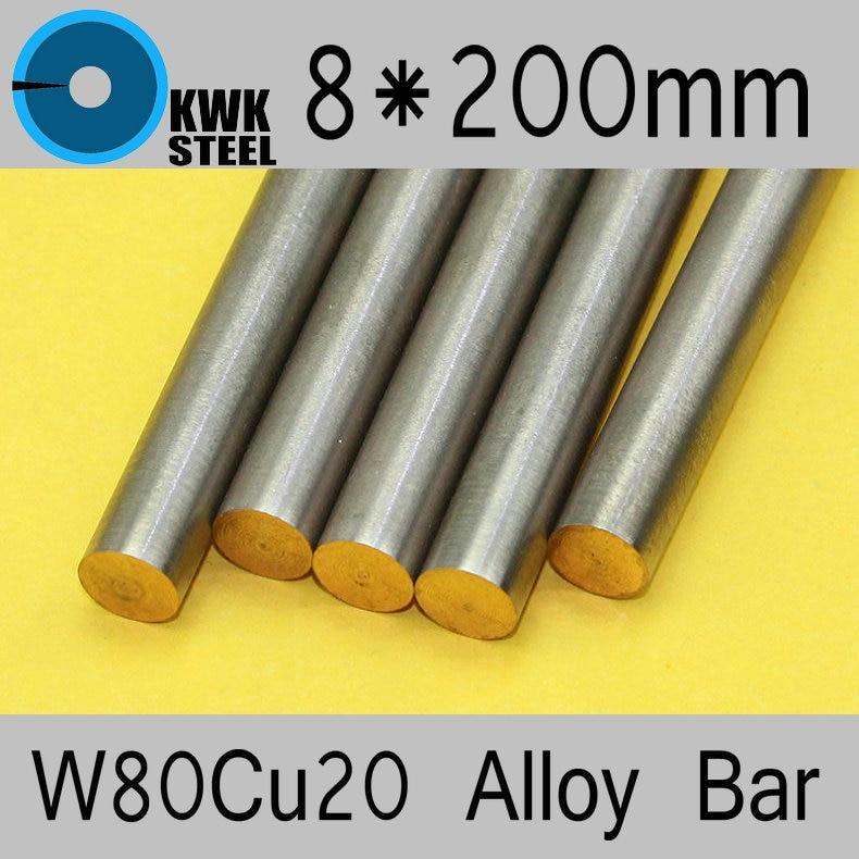 8*200mm Tungsten Copper Alloy Bar W80Cu20 W80 Bar Spot Welding Electrode Packaging Material ISO Certificate Free Shipping