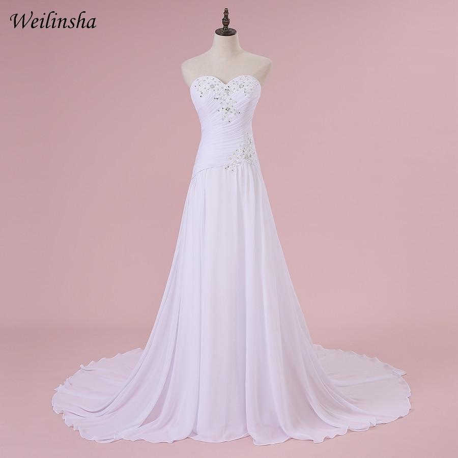 Weilinsha Cheap Chiffon Beach Wedding Dresses Beaded Applique Sweetheart Robe de Mariee Bridal Gowns Vestido de