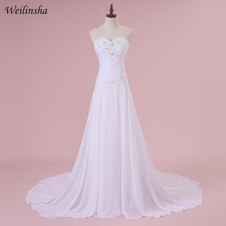 Weilinsha murah gaun pengantin pantai gaun manik gaun kekasih jubah gaun pengantin gaun vestido de noiva