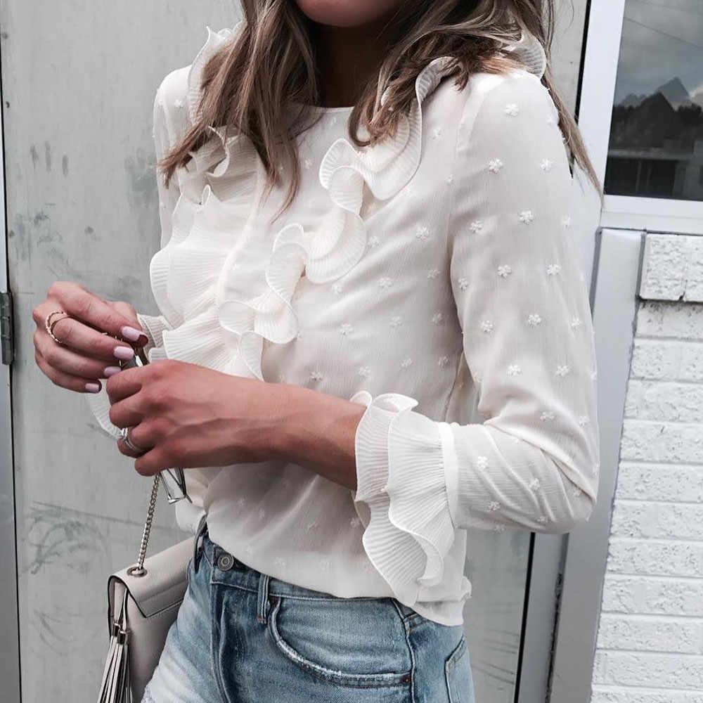 Feitong 2019 Lente Zomer Ruches Blouse Vrouwen Dames Casual Kant Polka Dot O Hals Wit Shirt Lange Mouw Tops Blusas vrouwelijke # B