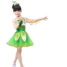 Новинка; Балетные костюмы с травой; детские танцевальные костюмы для выступлений; Жасмин Зеленый; быстро длинная вуаль с листьями; одежда для детей