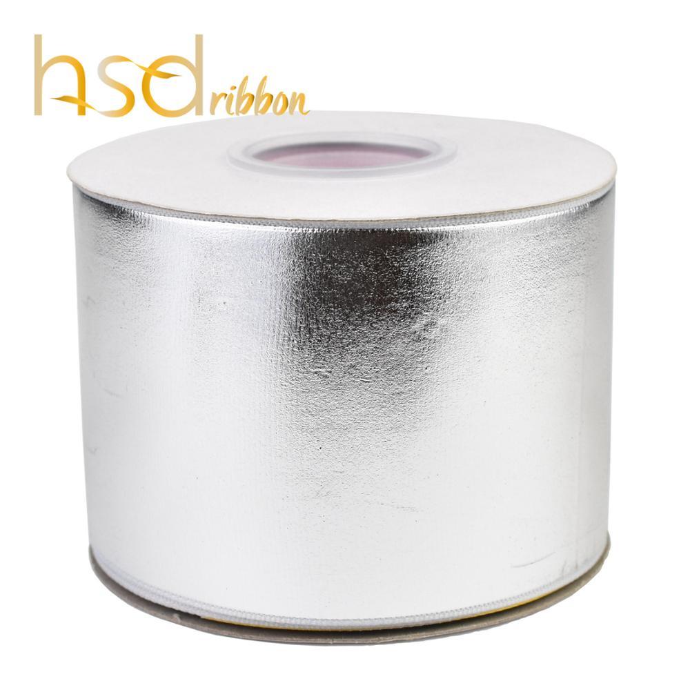 HSDRibbon 75 millimetri 3inch Soild argento foil Stampato sul nastro del grosgrain-in Nastri da Casa e giardino su  Gruppo 1