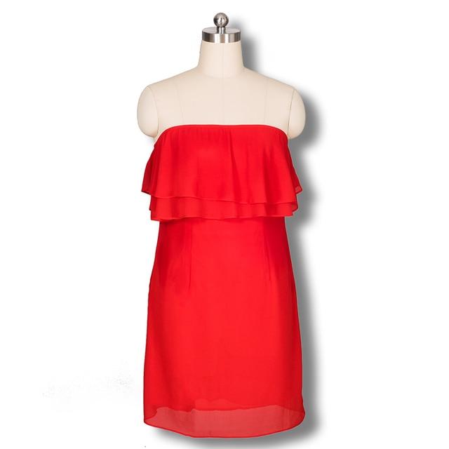 5f2bef127f0 Frill dress with flounces ruffles strapless red chiffon mini dress party  short robe de cocktail cute cheap 2015 summer femme