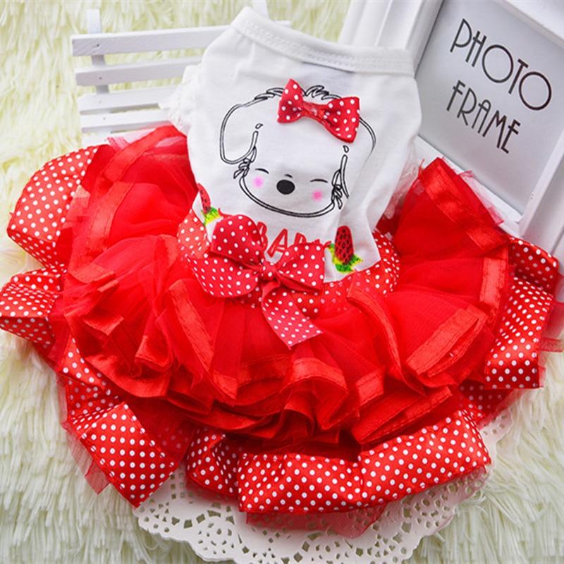 Pakaian Anjing lucu untuk Anjing Kecil Gaun Pengantin Rok Musim Panas Mewah Putri Pakaian Pet Buah Desain 11AY22QS2