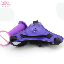 Silicone Strap Ons purple Dildo Anal Sex Toy