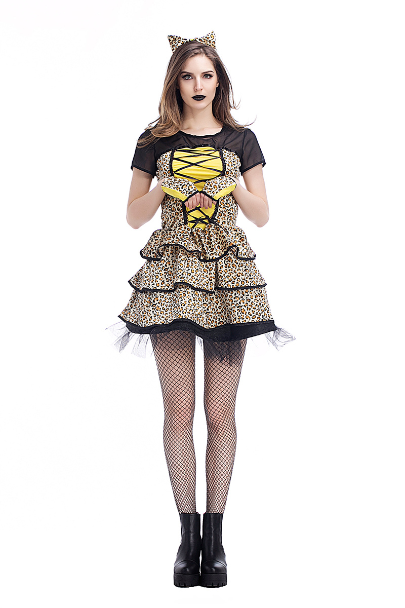 Animal Sexy Adult Club Party Costume Net Yarn Dress Wild Leopard Cat Ears Headband For Woman