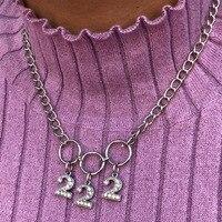 Эксклюзивный стиль Харадзюку Crsytal 222 количество чокер круг Colar женское милое ожерелье в панк-стиле Collares Mujer ювелирный подарок
