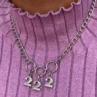 Exclusivo Estilo Harajuku Crsytal 222 Número Círculo Gargantilha Colar Mulheres Jóias Presente Bonito do Estilo Punk Colar Collares Mujer
