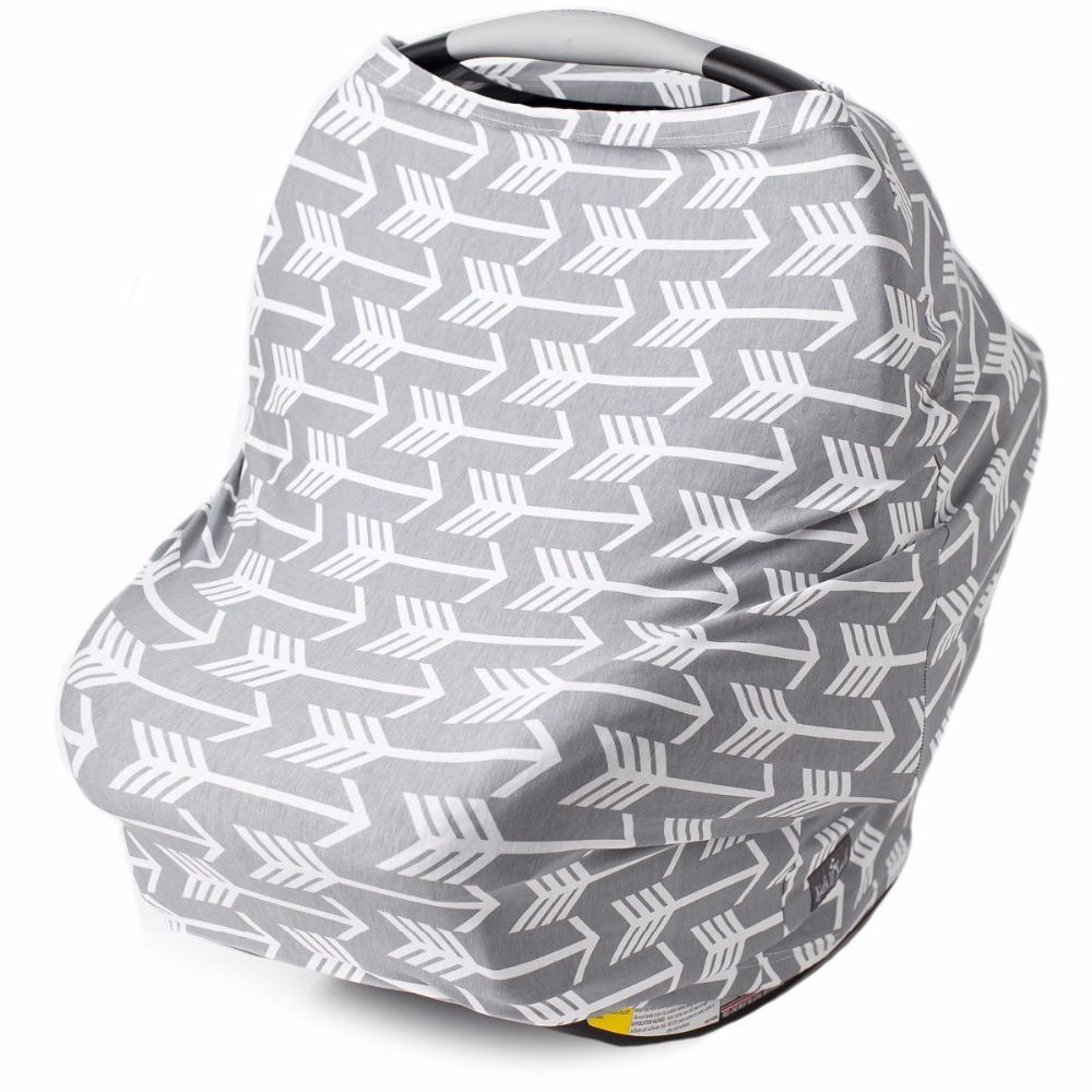 Baby Carseat Canopy Pink Grey Stripe Stripe Sun Shade Canopy Breastfeeding Nursing Cover Multifunction Infant Stroller Covers