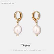 Yhpup Stylish Korean Geometric Romantic Chic Freshwater Pearls Earrings Elegant Charm Trendy Women Party Jewelry Gift