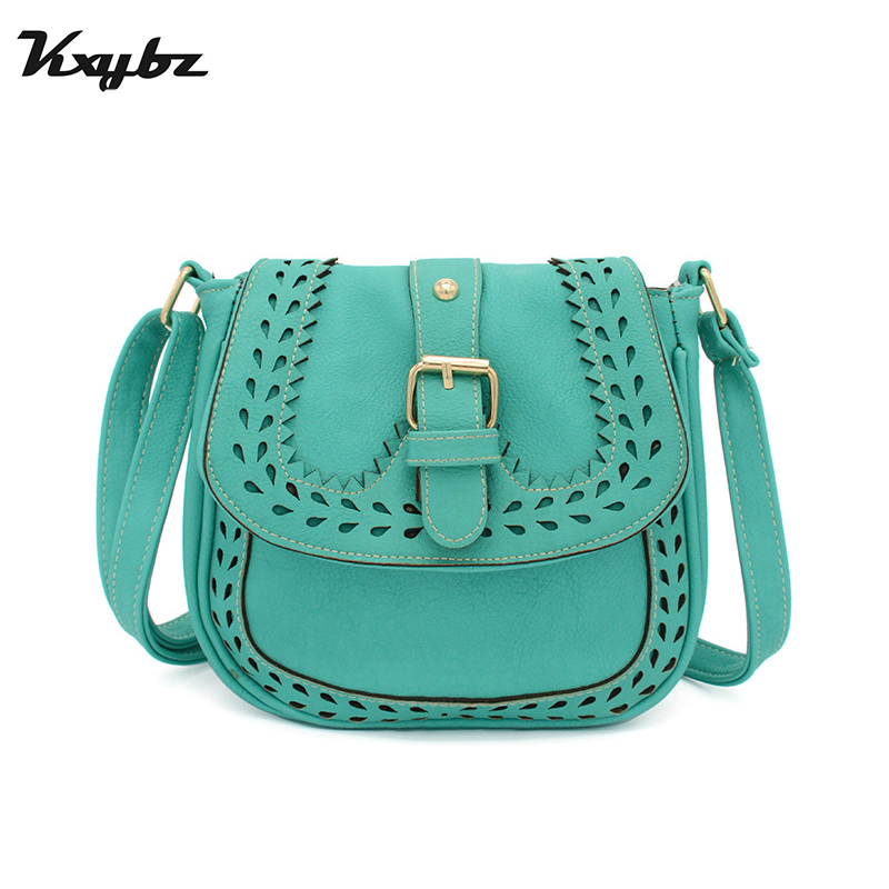KXYBZ Hollow Out Vintage Women Saddle Crossbody Bag Fashion Casual Female Small Messenger Bag Ladies Retro Purses Handbags K3013 vintage weaving and hollow out design crossbody bag for women