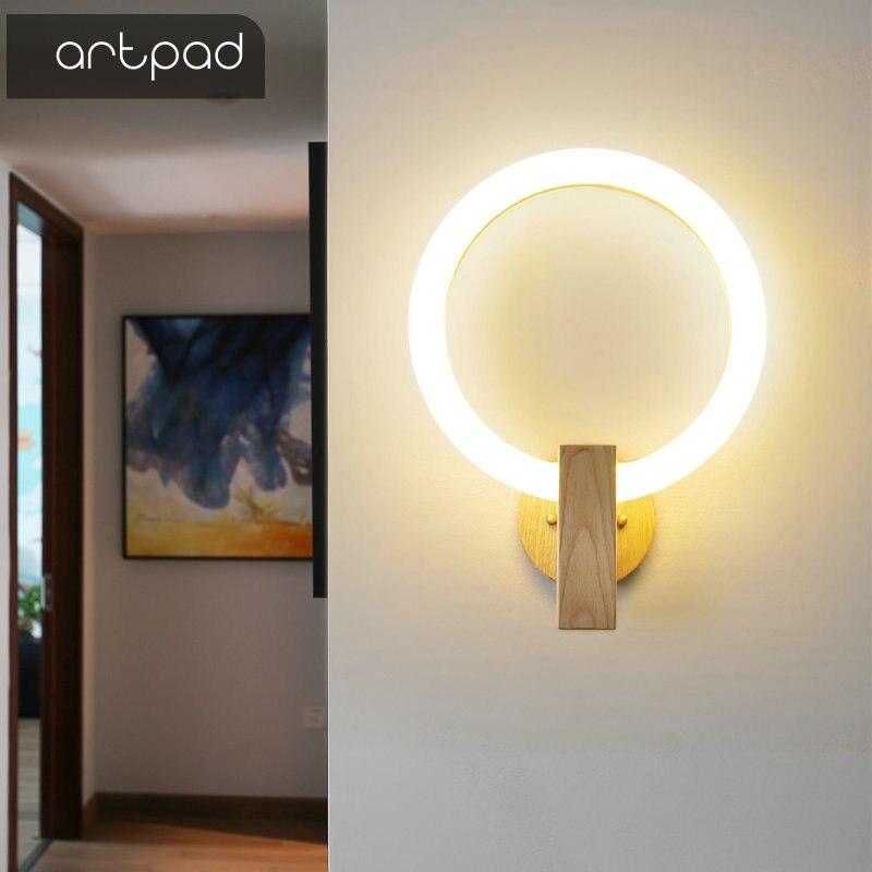 Nordic Wood Wall Lamp Acrylic Round Sconces Bedroom Bedside Lamp Creative Living Room Fixtures Corridor Aisle