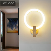 Nordic Wood Wall Lamp Acrylic Round Sconces Bedroom Bedside Lamp Creative Living Room Fixtures Corridor Aisle Stairs Wall Lamps
