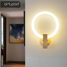 Nordic ściana z drewna lampy akryl okrągły kinkiety sypialnia lampka nocna kreatywny salon oprawy oświetleniowe korytarz korytarz schody lampy ścienne